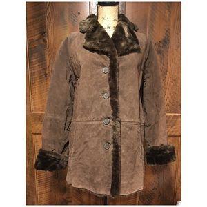 Vintage Winlit Faux Shearling Suede Leather Coat